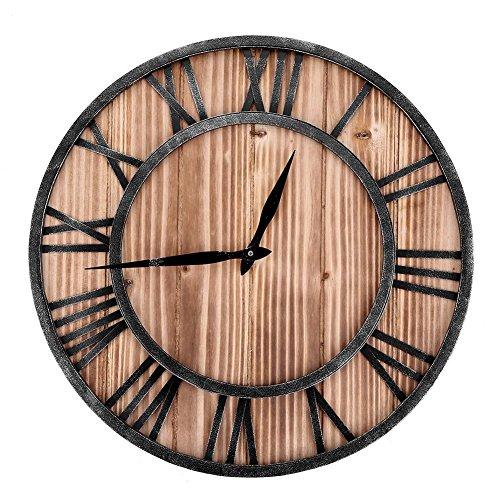 Hongzer Orologio da Parete, Legno Classico + Metallo Rotondo a Forma di Antico Orologio da Muro in Ferro Numeri Romani Casa Bar Arredamento