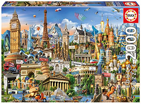 Educa Borras-2000 Europe Landmarks Puzzle, Colore Vario, 17697