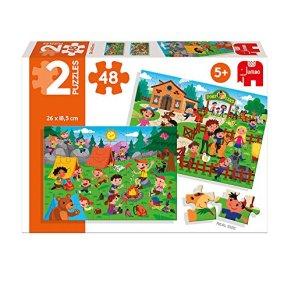 Diset- Puzzle Horse Riding & Picnic (2 x 48 pces) Granja y Acampada 2x48 Piezas, Multicolor (69984)