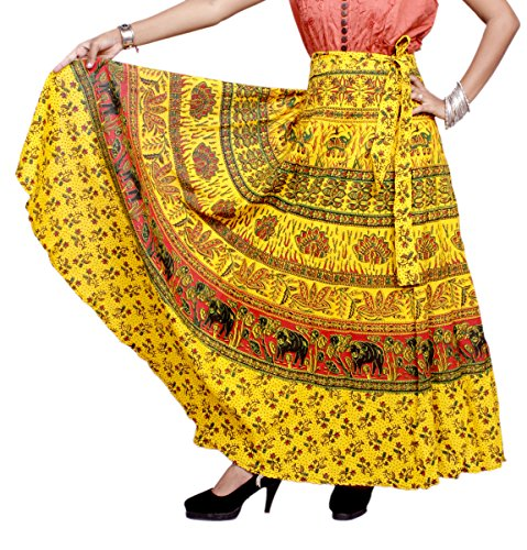 Amazing India Online Women's Cotton Wrap Around Long Skirt (AMIS241, Light Yellow, Free Size)