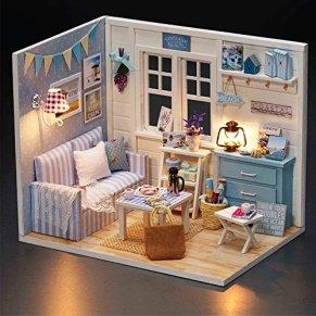 Kofun hecho a mano casa de muñecas de madera en miniatura DIY Kit para habitación casa 1: 32, Sunshine Princess, 15*12*10.50cm