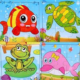 SIPLIV puzzle di legno 9-pezzi di puzzle per 2-5 anni i bambini, set di 4
