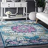 Status 3D Printed Vintage Persian Carpet Rug Runner for Bedroom/Living Area/Home with Anti Slip Backing (4X 5 Feet-Medium, Multi)-Pack of 1