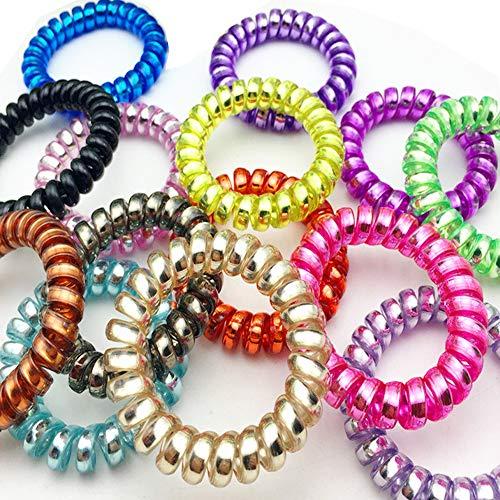 CAILI Fasce Elastici per Capelli,Traceless Hair Ring,Stile Molla a Spirale per Telefono Colorato...