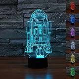 SmartEra® Star Wars Forza Awaken Colore 7 che cambia Robot pulsante R2D2 tocco 3D Optical Illusion lampada da tavolo a LED