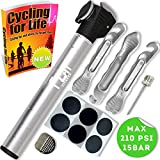 Mini Bike Pump (SILVER) with Tyre Repair Kit & Glueless Puncture Patch - Micro High Pressure Portable Bicycle Pump - Designed For Schrader & Presta Valves & Ball - Comes with 3 Plastic Levers