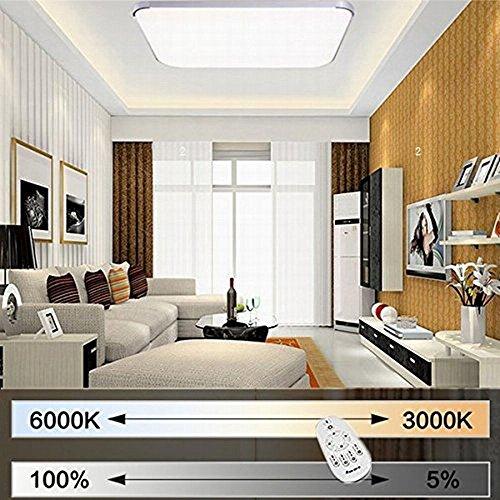 EtimeR LED Deckenleuchte Dimmbar Deckenlampe Modern Wohnzimmer Lampe Schlafzimmer Kche Panel Leuchte 2700 6500K Mit Fernbedienung Silber 45x45cm 30W