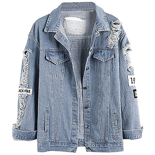Kinsmirat Damen Jeansjacke mit Patches Knopfverschluss Cut-outs Blau...