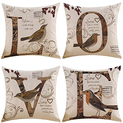 MIULEE Set di 4 Cuscino Stampato Lino Federe Love Decorativo Quadrato Federe Cuscino Set Custodia...