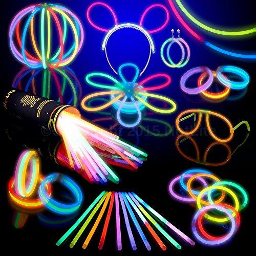 Hotlite - Pacco di 100 Barre Luminose per Party - 8 braccialetti extra, collane, kit per creare...