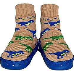 Pantuflas suecas - Diseño Infantil Unisex de Dinosaurios - Zapatillas de Estar por casa para Bebés, Niños y Jóvenes