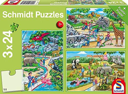 Schmidt Puzzle Una Giornata allo Zoo 3 x 24 Pezzi, 56218