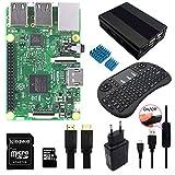 Corkea Raspberry Pi 3 Set 8 in 1 Mit Wireless Mini Tastatur Gehäuse Alu Netzteil Strom-Kabel mit Schalter 16G SD Card HDMI kühlkörper