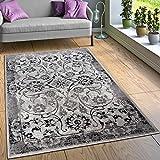 Paco Home Alfombra Diseño Salón Alfombras Floral Aspecto Vintage Contorneada Negro Blanco, tamaño:160x220 cm