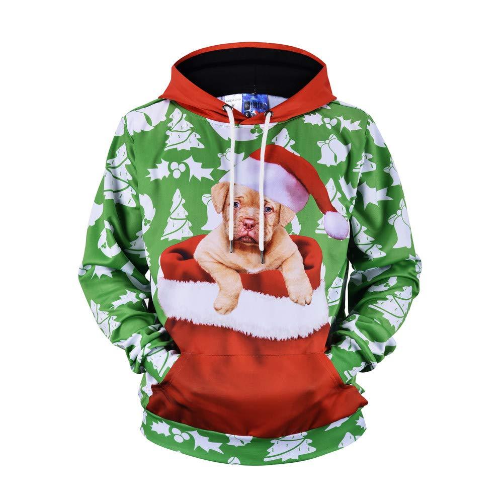 Homebaby Men Funny Christmas Pullover Jumper 3d Print Dog Hoodies