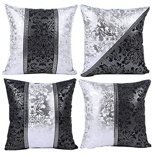 JOTOM Nero Bianco Federa per Cuscino Divano Cuscino per Auto Home Bed Decor 45 x 45 cm, Set di 4...