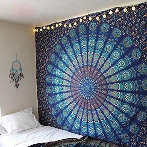 Arazzo da muro Mandala matrimoniale, tema colore blu, trama pavone indiano psichedelico, stile...