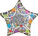 Anagram Foil Star Holographic Happy Birthday Balloon 19In (Multicolor)