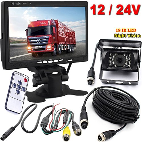 4pin 12 V-24 V LED a infrarossi per visione notturna impermeabile retromarcia backup telecamera posteriore con 15 m cavo+17,8 cm a colori TFT LCD HD 800 x480 auto monitor per Bus camion rimorchio