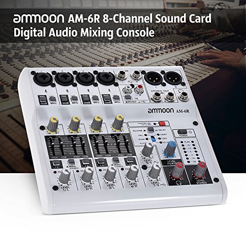 KKmoon ammoon AM-6R 8-Channel Digital Audio Mixer Mixing Console Built-in 48V Phantom Power Support Powered by 5V Power Bank with Power Adapter USB Cables