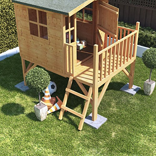 This playhouse has a pretty construction that will last for years. The door and windows enhances ventilation and gives the playhouse a practical look. Other good features include a sand felt roof that protects against UV and rain and a removable floor. These are worth it when considering the safety and comfort of your child.