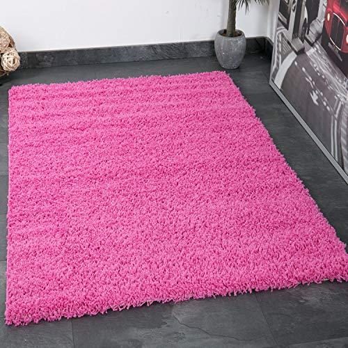 Vimoda Prime Shaggy Teppich Pink Hochflor Langflor Teppiche Modern für Wohnzimmer Schlafzimmer,...