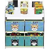 HOMFA Estantes de Juguetes Biblioteca de bolsillos Caja de juguete y de almacenamiento 82.5 x 29.5 x 97.5 cm