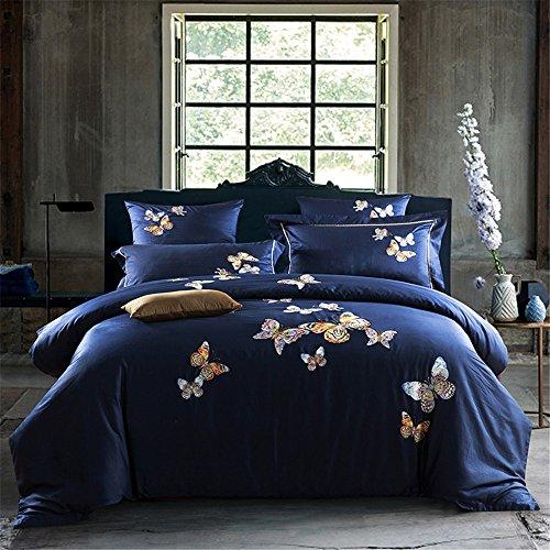 xcvbw @ 4 pcs Algodón de Egipto Bordado de lujo Mariposas Flores Juego de cama King size Juego de funda nórdica Sábanas Fundas de almohada
