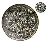 Exquisito bronce Dragón Phoenix tibetano incienso quemador soporte aplicables a la bobina de incienso Cono/Stick/de incienso