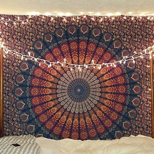 Craftozone Unique Mandala Tapestry Hippie Sheet Beach Sheet Multi Purpose Cloth, 95 x 85 Inch
