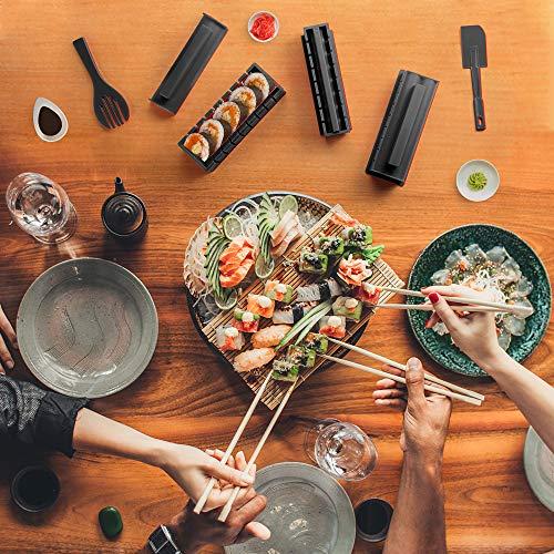 Sushi Maker Kit 10 PCS Moules à Sushi Cuisine Bricolage facile Kit de Préparation à Sushi Sushi set set riz Rouleau Kit Sushi Sushi Maker DIY Cuisine Coffret Complet Convient à Dãbutants (Noir)