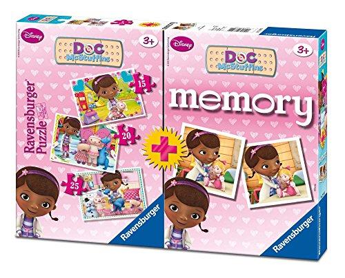 Ravensburger 22288 9 - Dottoressa Peluche Multipack, 3 Puzzle + 1 Memory