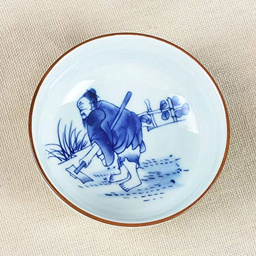 LUFEILI Taza de té de cerámica Pintada a Mano Alfarería Kung Fu Juego de té Taza de té Taza Personal Gres Pintado a Mano Taza Individual Té pequeño Arado