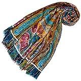 Lorenzo Cana Pashmina de 98% Cachemire et 2% Soie pour la femme - écharpe avec des motifs indiens et bouddhistes - 70 cm x 180 cm - une sensation de luxe en bleu orange jaune rose bronze