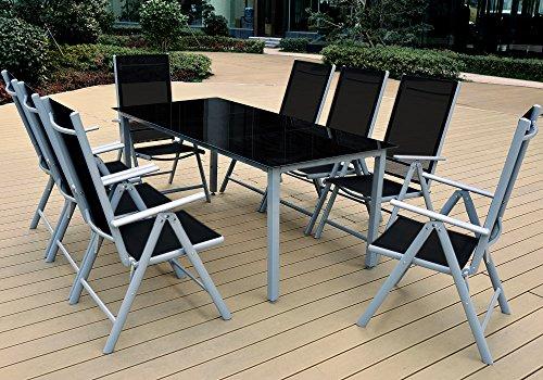 Alu Sitzgruppe 8+1 Sitzgarnitur Gartengarnitur Tischplatte aus Glas + klappbare und neigbare Stühle - 2