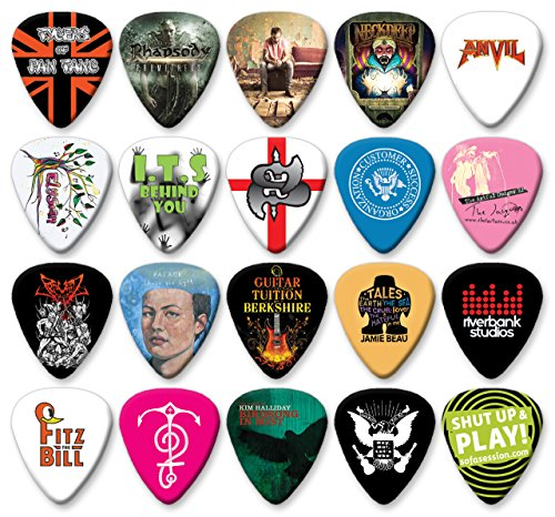 50 X Custom Printed Guitar Picks Personalised Customised Celluloid Plectrums (Heavy 1mm)