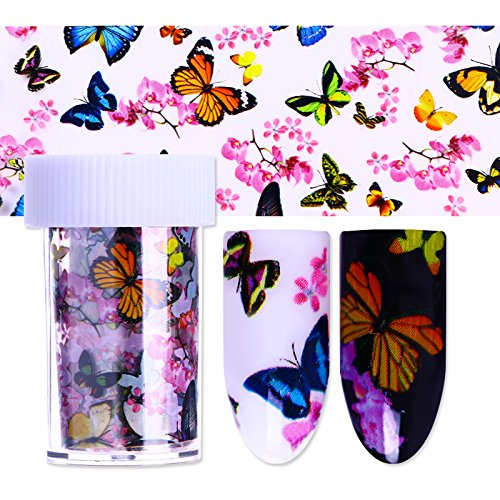 coulorbuttons 4100cm lámina de uñas Nail estrellada arte transferencia adhesivo diseño de flores en forma de mariposa