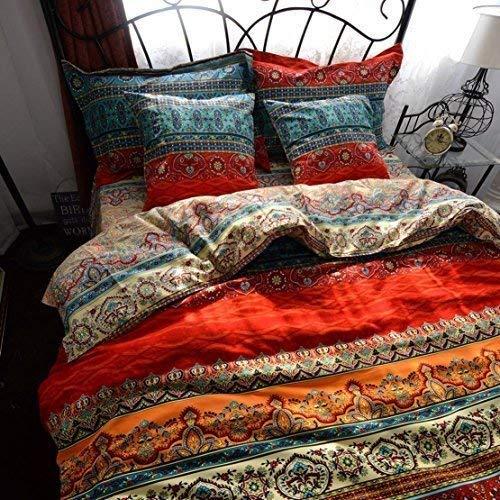 Unimall 4 Pezzi Completo Copripiumino Matrimoniale 220*240cm in Puro Cotone con Lenzuola Piane e 2 Federe per Letto Due Piazze