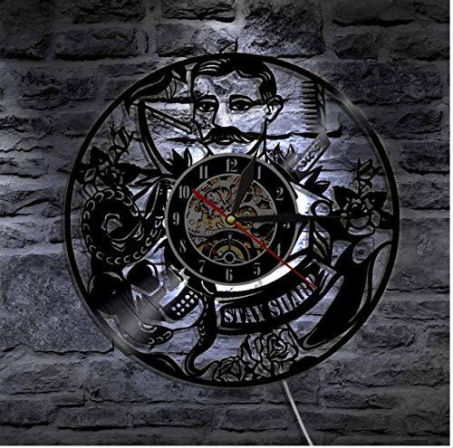 Yang Jingkai Stay Sharp Design Orologio da Parete Parrucchiere Disco in Vinile Orologio LP Salone di Bellezza Orologio a LED Orologio da Regalo Vintage Fatto a Mano
