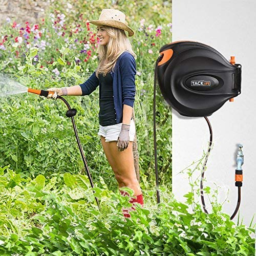 We do like this 20m hose reel. It unwinds easily and retracts gently with no kinks or tangles, so it doesn't worry being around children and pets. The 20m hose itself is long enough to cover most garden areas and it's just enough for those living in townhouses and apartments. Anyone with a seriously large garden will have to look elsewhere, though, such as the 100m KINGTOP Garden Hose above.
