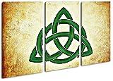 ein Keltisches Symbol im Format: 3-teilig 120x80 als Leinwandbild, Motiv fertig gerahmt auf Echtholzrahmen, Hochwertiger Digitaldruck mit Rahmen, Kein Poster oder Plakat