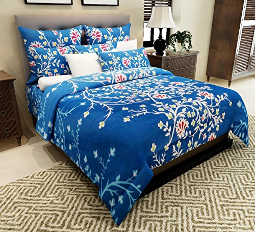 Home Candy 144 TC Fancy Floral Cotton Double Bedsheet with 2 Pillow Covers - Blue (CTN-BST-516)