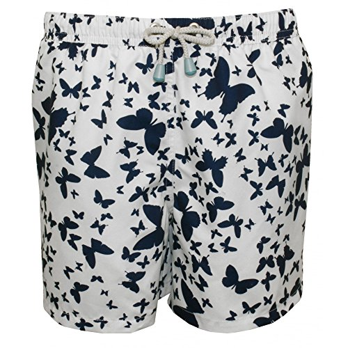 Oiler & Boiler Mariposa Muchachos Impresión Swim Shorts, Blanco/azul Marino 11-12 Años