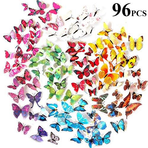 Tomkity 96 Adhesivos Mariposas 3D Decorativos para Pared