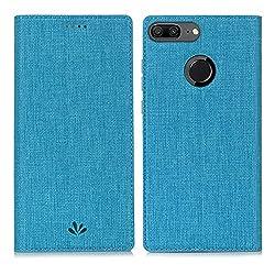 Kaufen Feitenn Honor 9 Lite Hülle, dünne Premium PU Leder Flip Handy Schutzhülle | TPU-Stoßstange, Magnetverschluss, Kartenschlitz, Kameraschutz- und Standfunktion Brieftasche Etui (Blau)