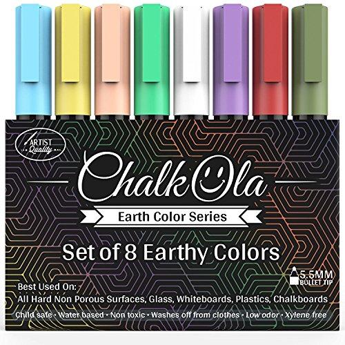 Pennarelli a Gesso liquido – Confezione da 8 pennarello dai colori della Terra – Da usare su...
