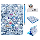 iPad mini 4 Funda,iPad mini 4 Carcasa - Felfy iPad Mini 4 Funny Cartoon Artistic Comics Elfin Design Pu Leather Magnetic Folio Flip Funda Carcasa +1xAzul Owl Enchufe del Polvo +1x Azul Lápiz Táctil