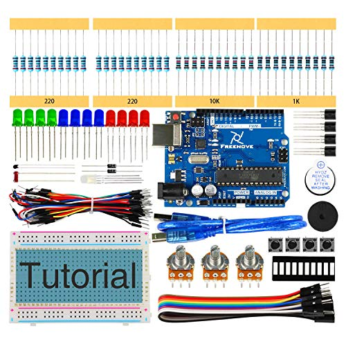 Freenove Basic Starter Kit with R3 Board (Compatible with Arduino), 96 Pages Detailed Tutorial, 151 Items, 19 Projects, Solderless Breadboard