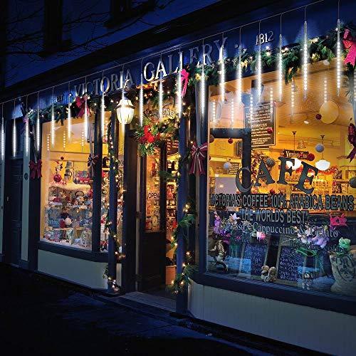 TurnRaise 50cm 10 Tubo 540 LED Meteor Luci Natale Luci, IP65 Impermeabili Meteor Shower Light per Festa di Nozze Decorazione All'aperto (Bianco)