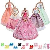 Asiv 17 Piezas de Ropa y Zapatos para Muñeca Barbie - 5 Piezas de Moda Princesa Vestido de Novia y 12 Pares de Zapatos para niña Regalo